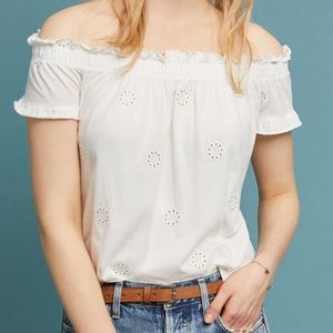 Three Dots White Eyelet Off The Shoulder Top